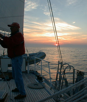 Checking the sails before dark
